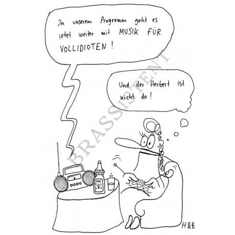 """Postkarte """"Musik für Vollidioten"""""""