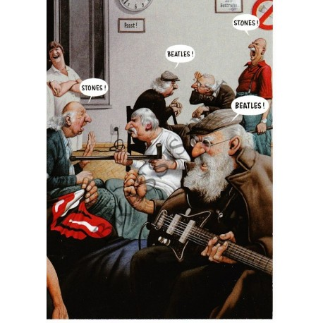 "Postkarte ""Stones/Beatles"""