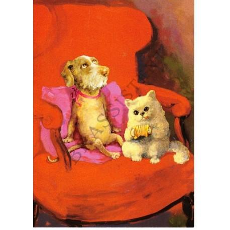 """Postkarte """"Hund & Katze"""""""