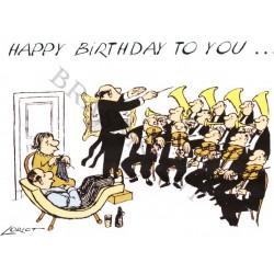 "Postkarte Loriot ""Happy Birthday"" Orchester"